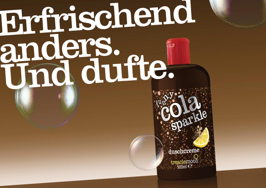 Postkarte funny cola sparkle duschcreme